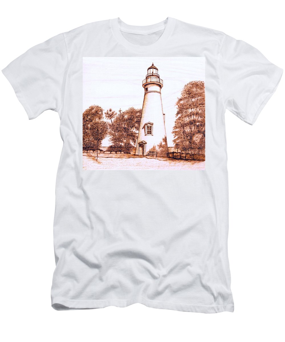 Lighthouse Men's T-Shirt (Athletic Fit) featuring the pyrography Marblehead Lighthouse by Danette Smith