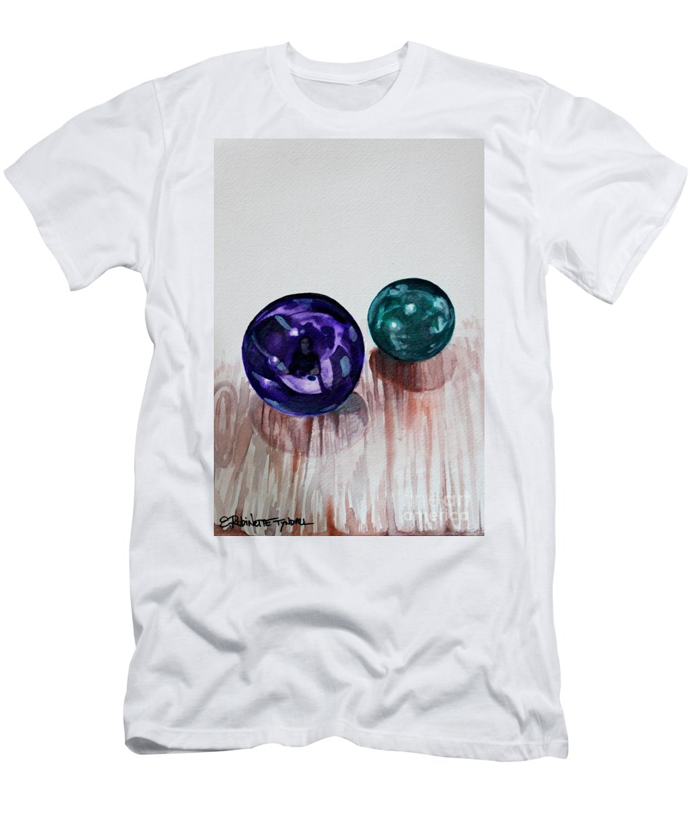 Marbles Men's T-Shirt (Athletic Fit) featuring the painting Marbles Of My Reflection by Elizabeth Robinette Tyndall