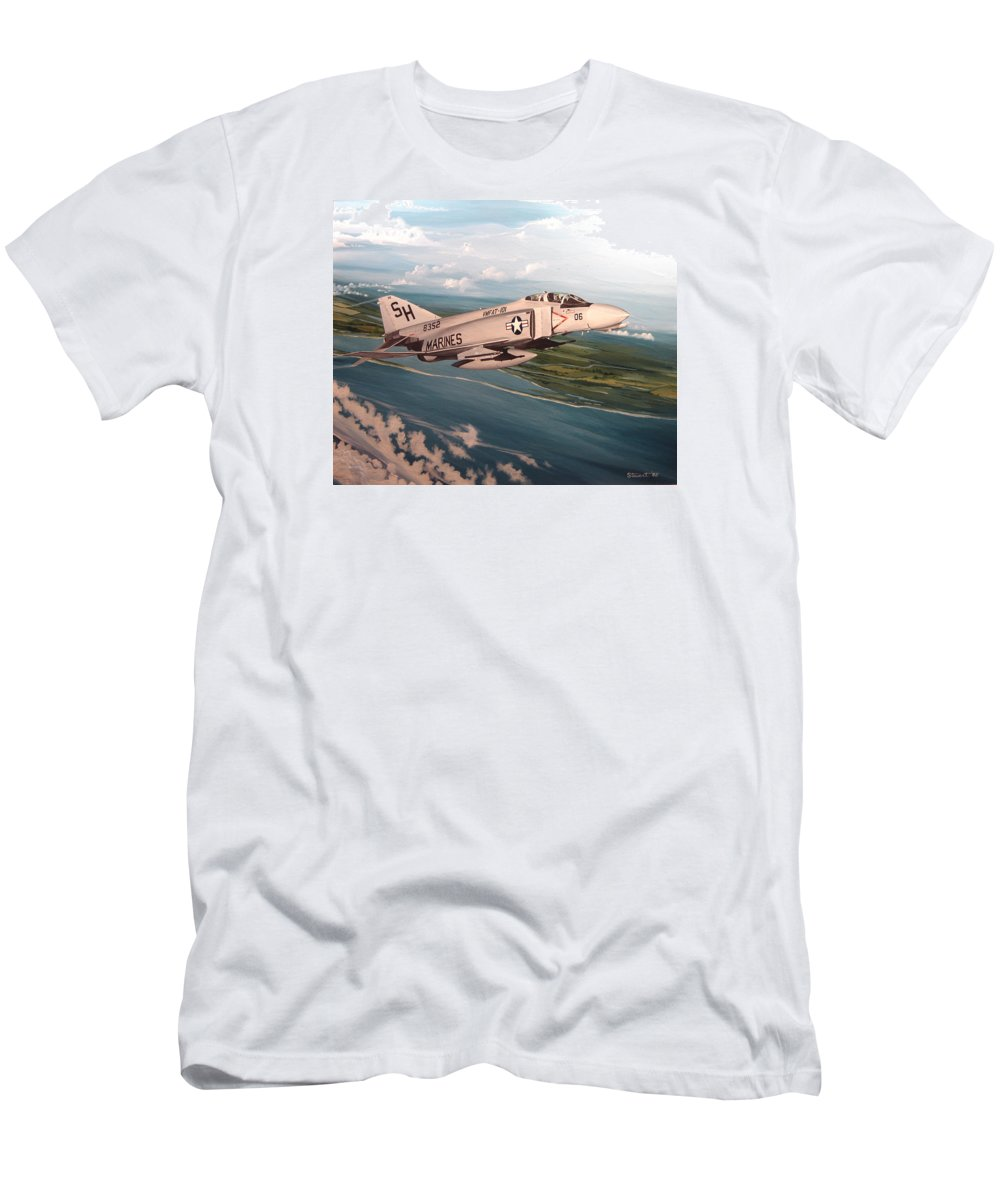 Aviation Men's T-Shirt (Athletic Fit) featuring the painting Marine Phantom by Marc Stewart