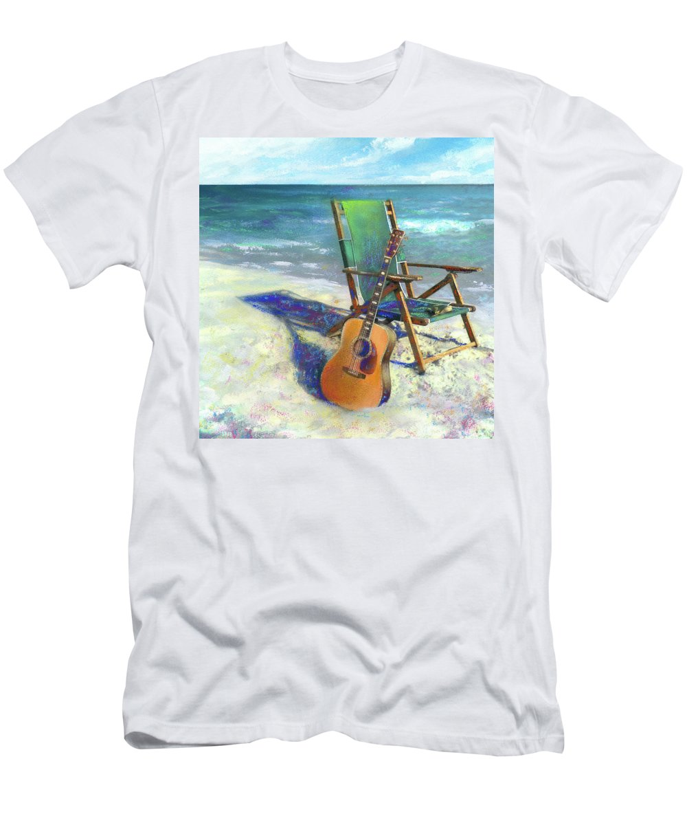 Guitar T-Shirt featuring the painting Martin Goes to the Beach by Andrew King
