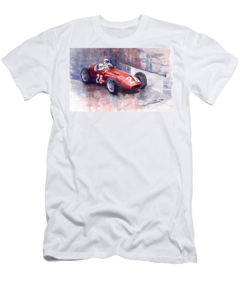Watercolour Men's T-Shirt (Athletic Fit) featuring the painting Maserati 250 F Gp Monaco 1956 Stirling Moss by Yuriy Shevchuk