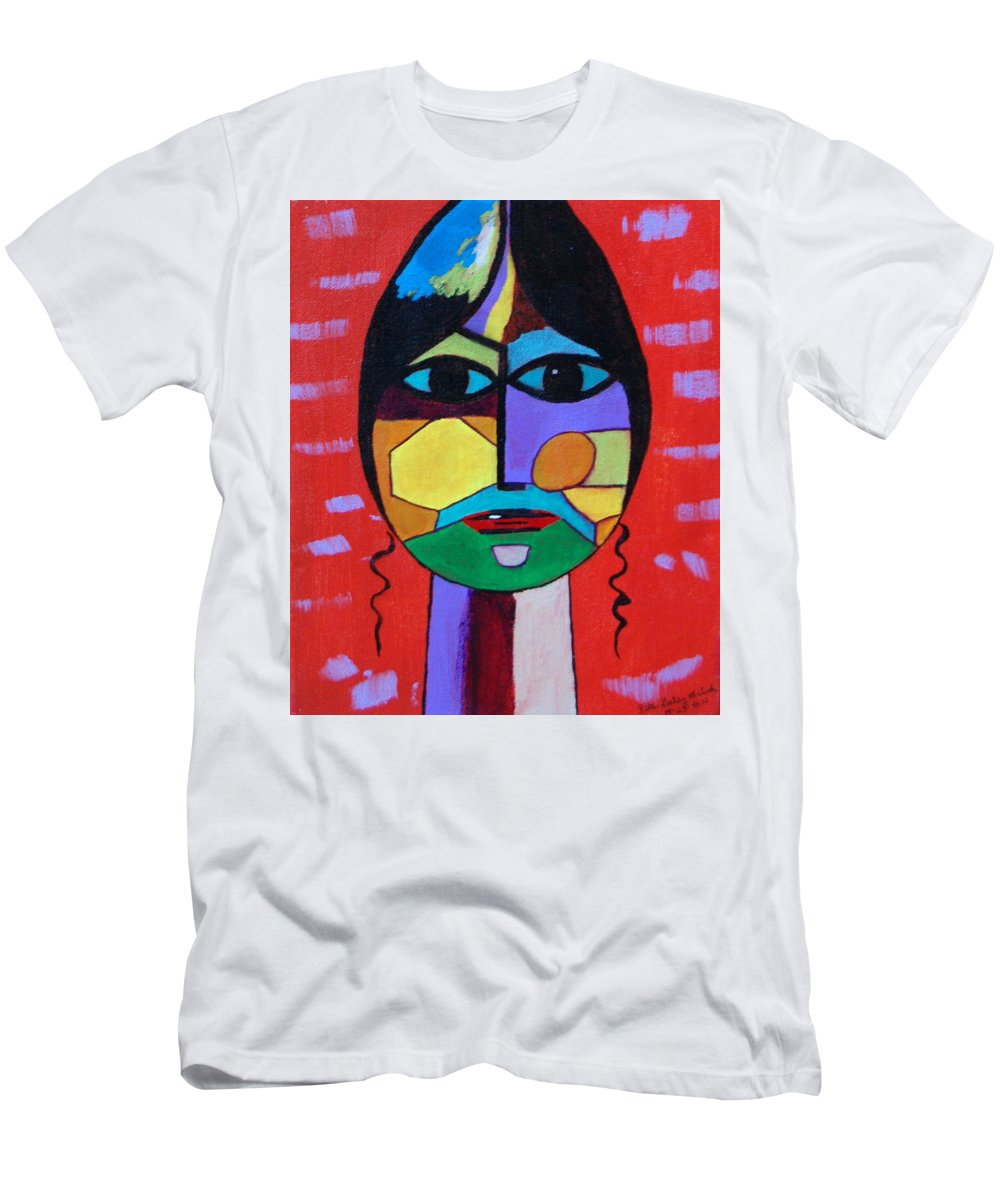 Mask Men's T-Shirt (Athletic Fit) featuring the painting Mask by Rita Lulay Malsch