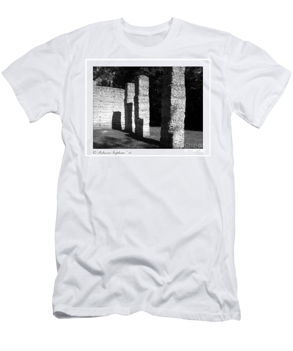Tabby Men's T-Shirt (Athletic Fit) featuring the photograph Mcintosh Sugar Mill Tabby Ruin Pillars by Rebecca Stephens