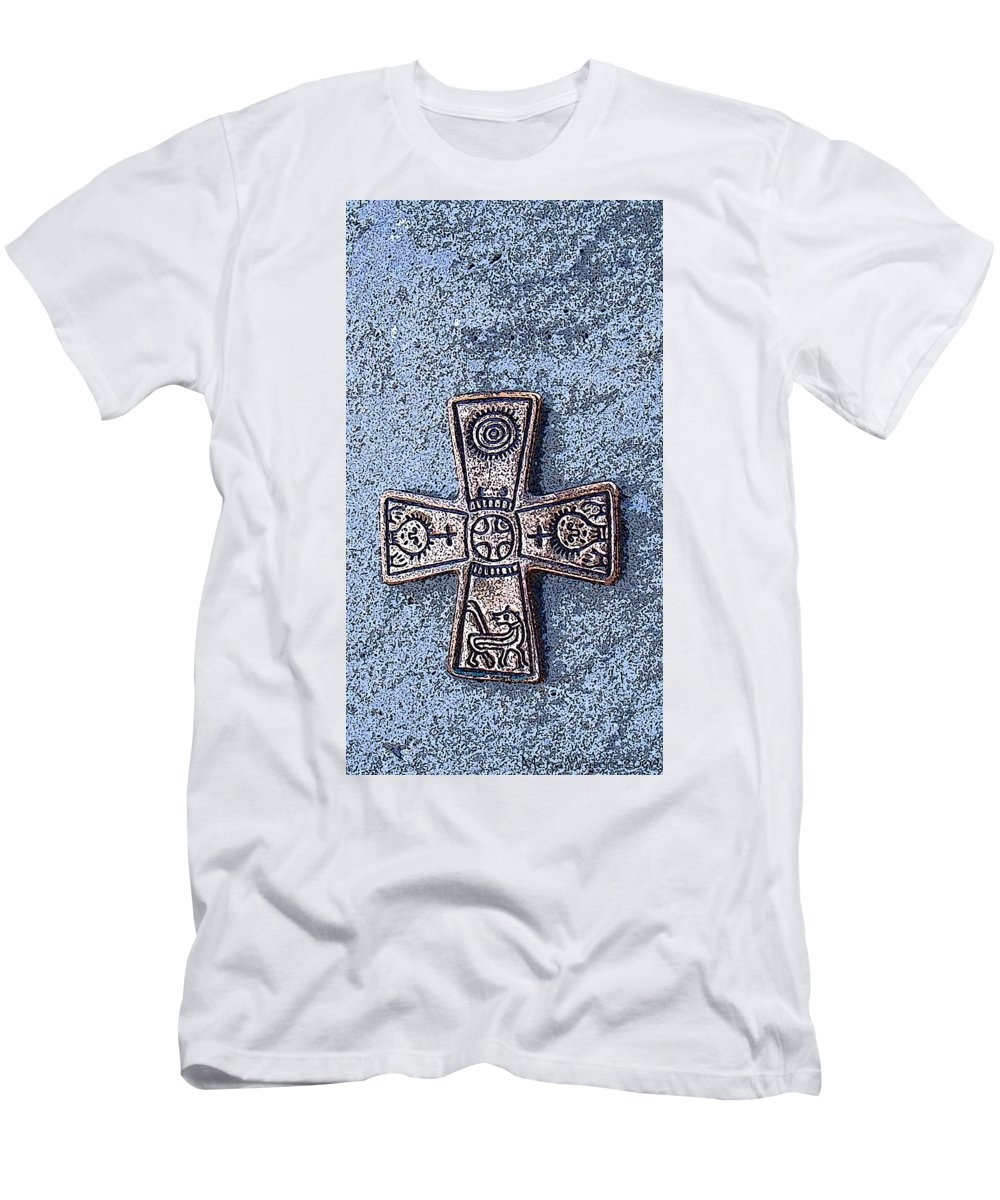 Cross Men's T-Shirt (Athletic Fit) featuring the photograph Medieval Nordic Cross by Merja Waters