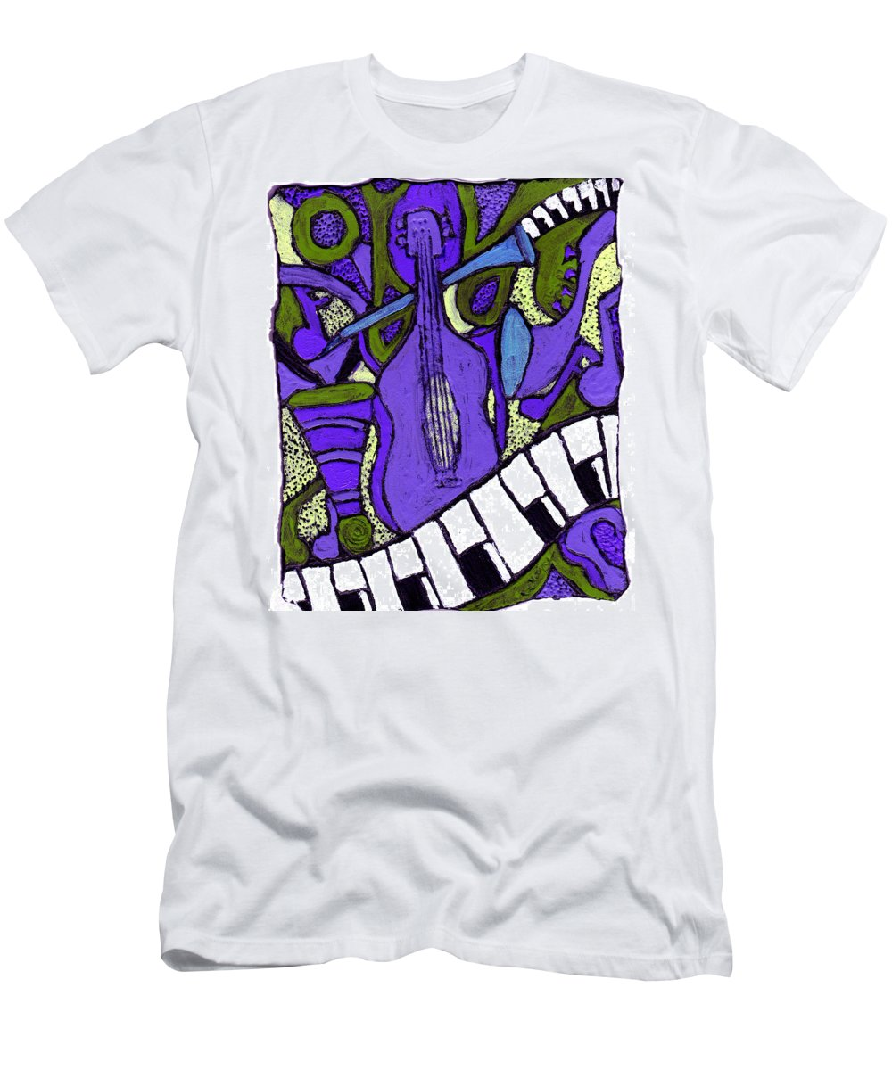 Jazz Men's T-Shirt (Athletic Fit) featuring the painting Melllow Jazz by Wayne Potrafka