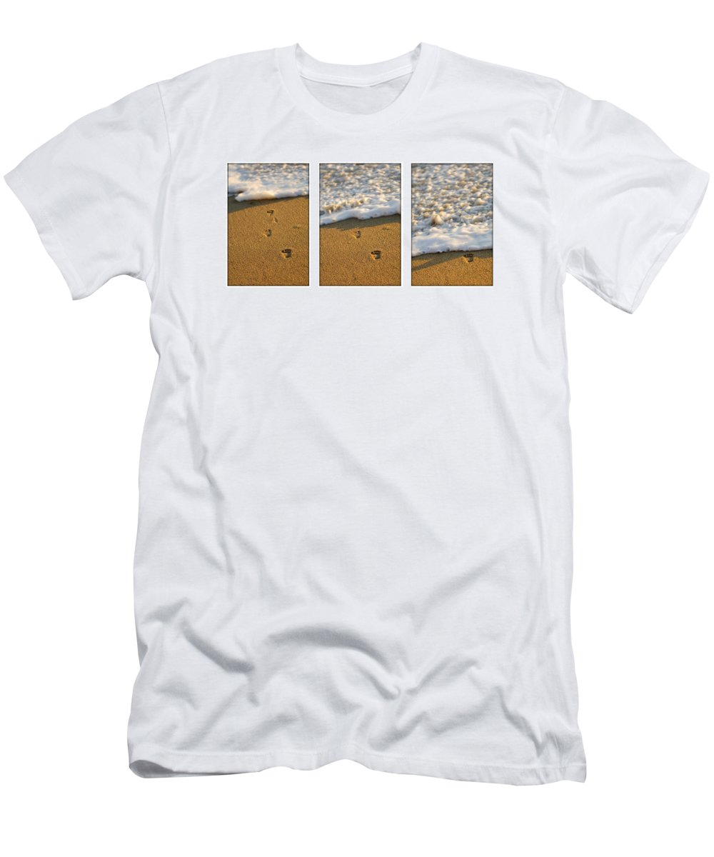 Beach Men's T-Shirt (Athletic Fit) featuring the photograph Memories Washed Away by Jill Reger