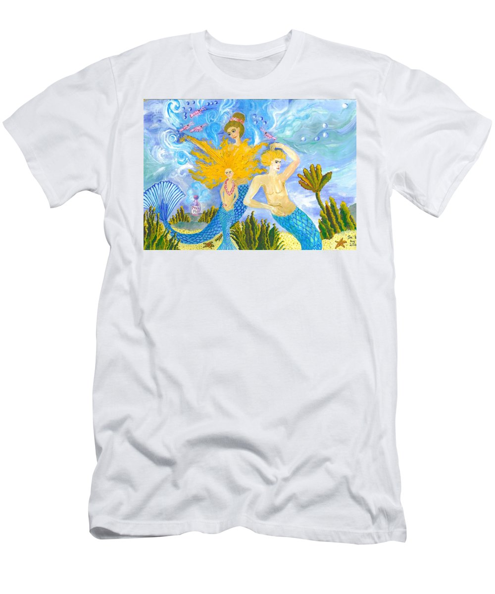 Sue Burgess Men's T-Shirt (Athletic Fit) featuring the painting Mer Mum And Comb by Sushila Burgess