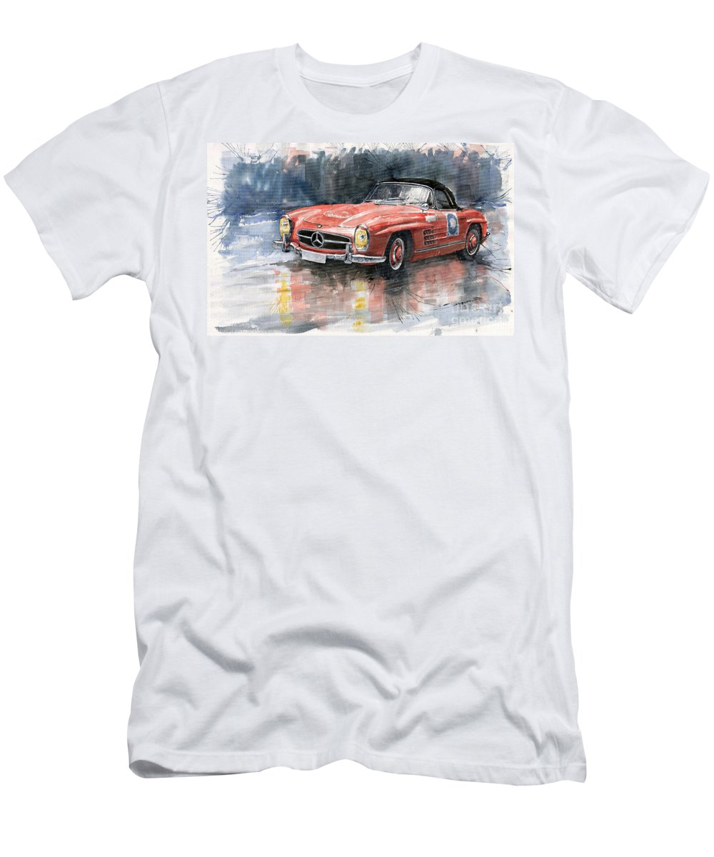 Auto Men's T-Shirt (Athletic Fit) featuring the painting Mercedes Benz 300sl by Yuriy Shevchuk