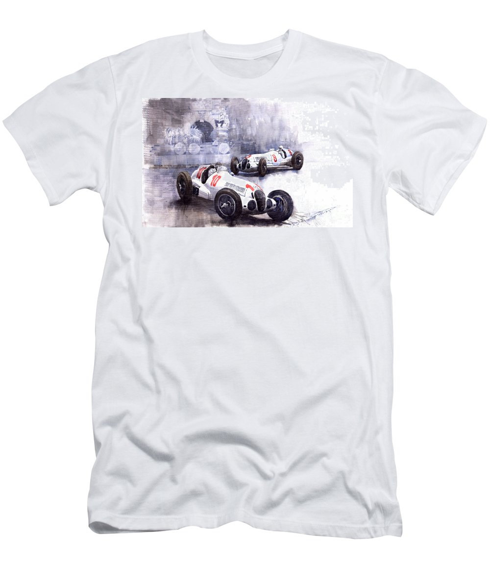 Watercolour Men's T-Shirt (Athletic Fit) featuring the painting Mercedes Benz W 125 1938 by Yuriy Shevchuk