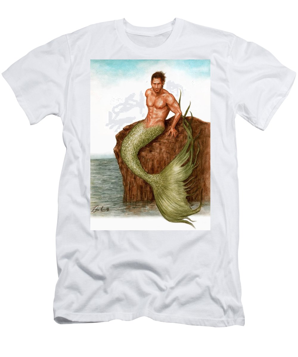 Merman Mermaid Art Bruce Lennon Men's T-Shirt (Athletic Fit) featuring the painting Merman On The Rocks by Bruce Lennon