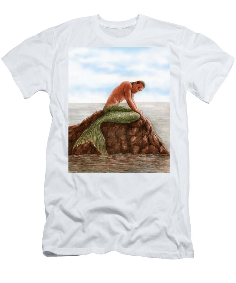 Merman Mermaid Bruce Lennon Art Men's T-Shirt (Athletic Fit) featuring the painting Merman Resting by Bruce Lennon