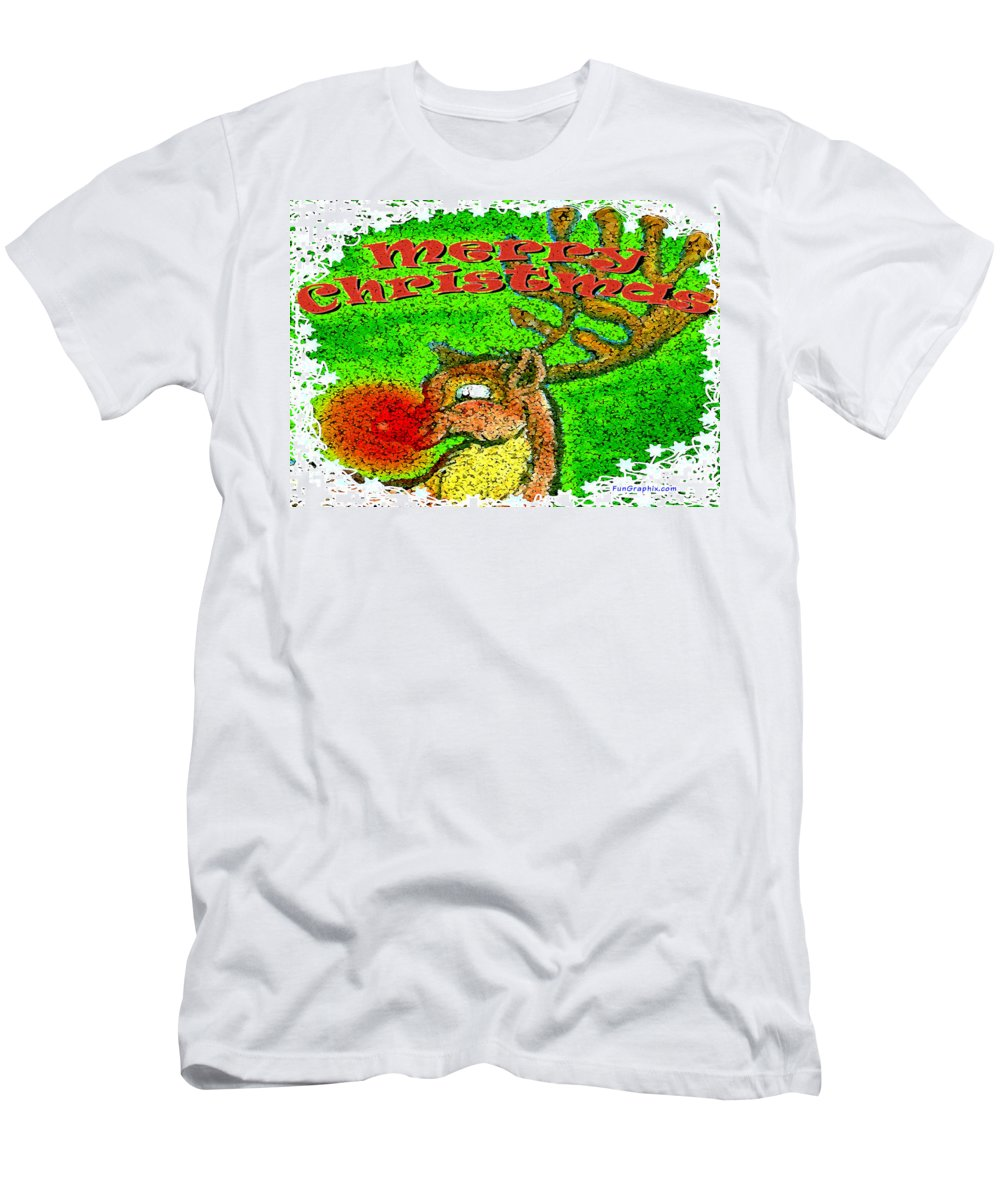 Merry Christmas Men's T-Shirt (Athletic Fit) featuring the greeting card Merry Christmas Reindeer by Kevin Middleton