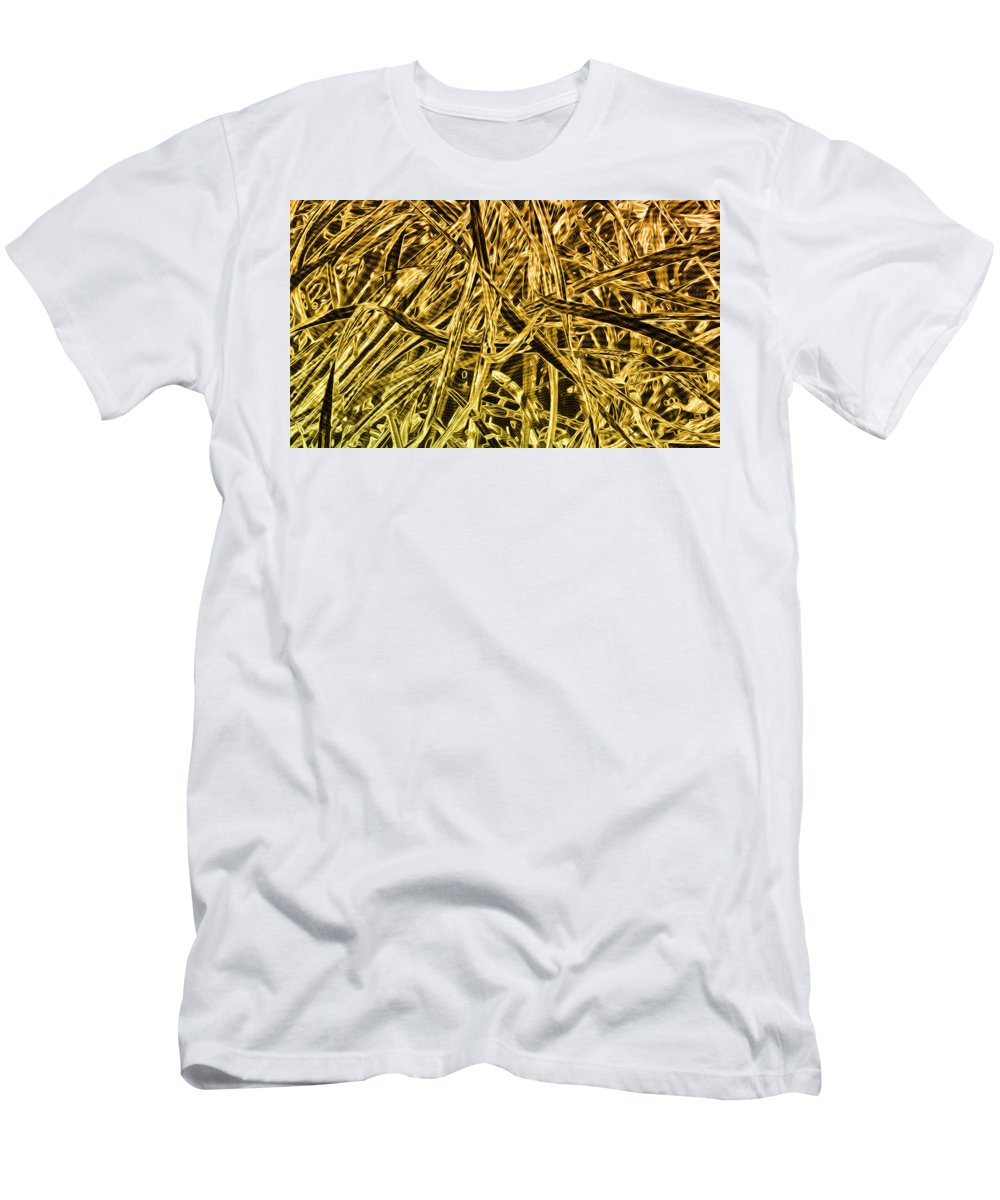 Illuminated Abstracts Men's T-Shirt (Athletic Fit) featuring the digital art Metallurgy by Becky Titus