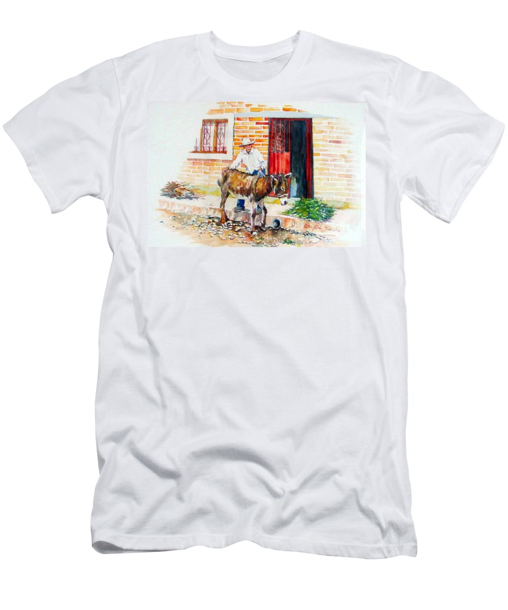 Mexico Paintings Men's T-Shirt (Athletic Fit) featuring the painting Mexico-el Burrito by Estela Robles