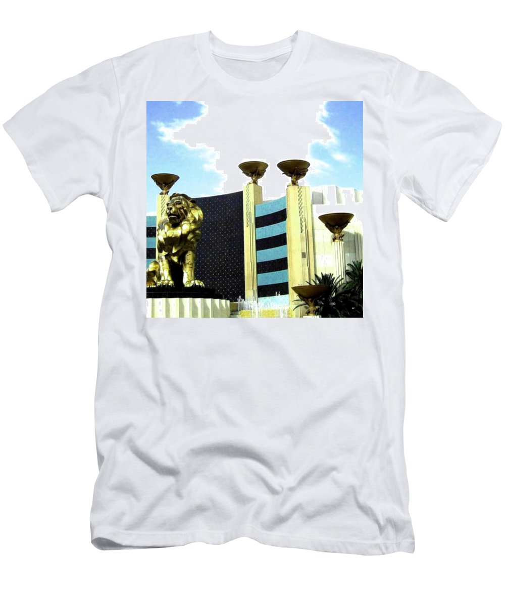 Mgm Men's T-Shirt (Athletic Fit) featuring the photograph Mgm Lion In Las Vegas by Will Borden