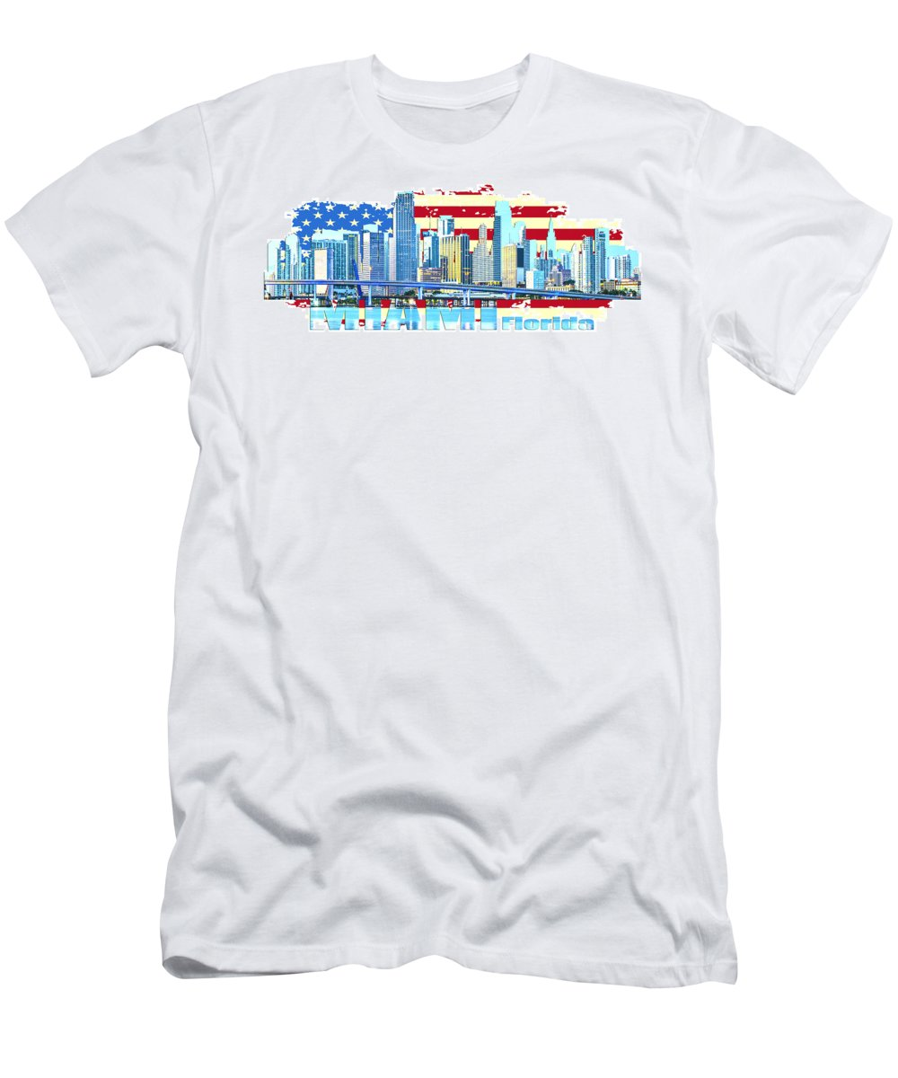 Golden Gate Bridge Men's T-Shirt (Athletic Fit) featuring the digital art Miami Florida City Skyline by Don Kuing