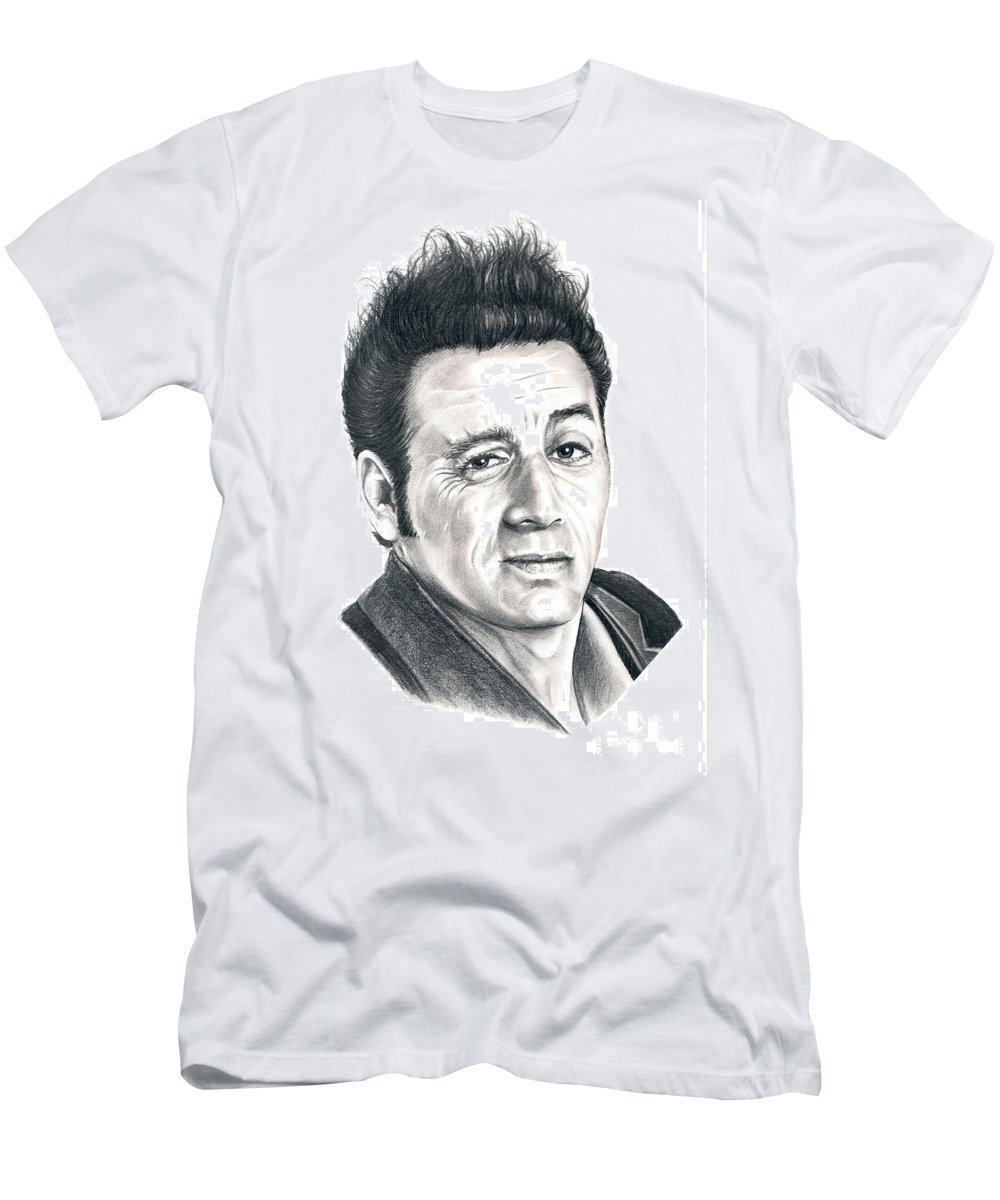 Pencil Men's T-Shirt (Athletic Fit) featuring the drawing Michael Richards Cosmo Kramer by Murphy Elliott