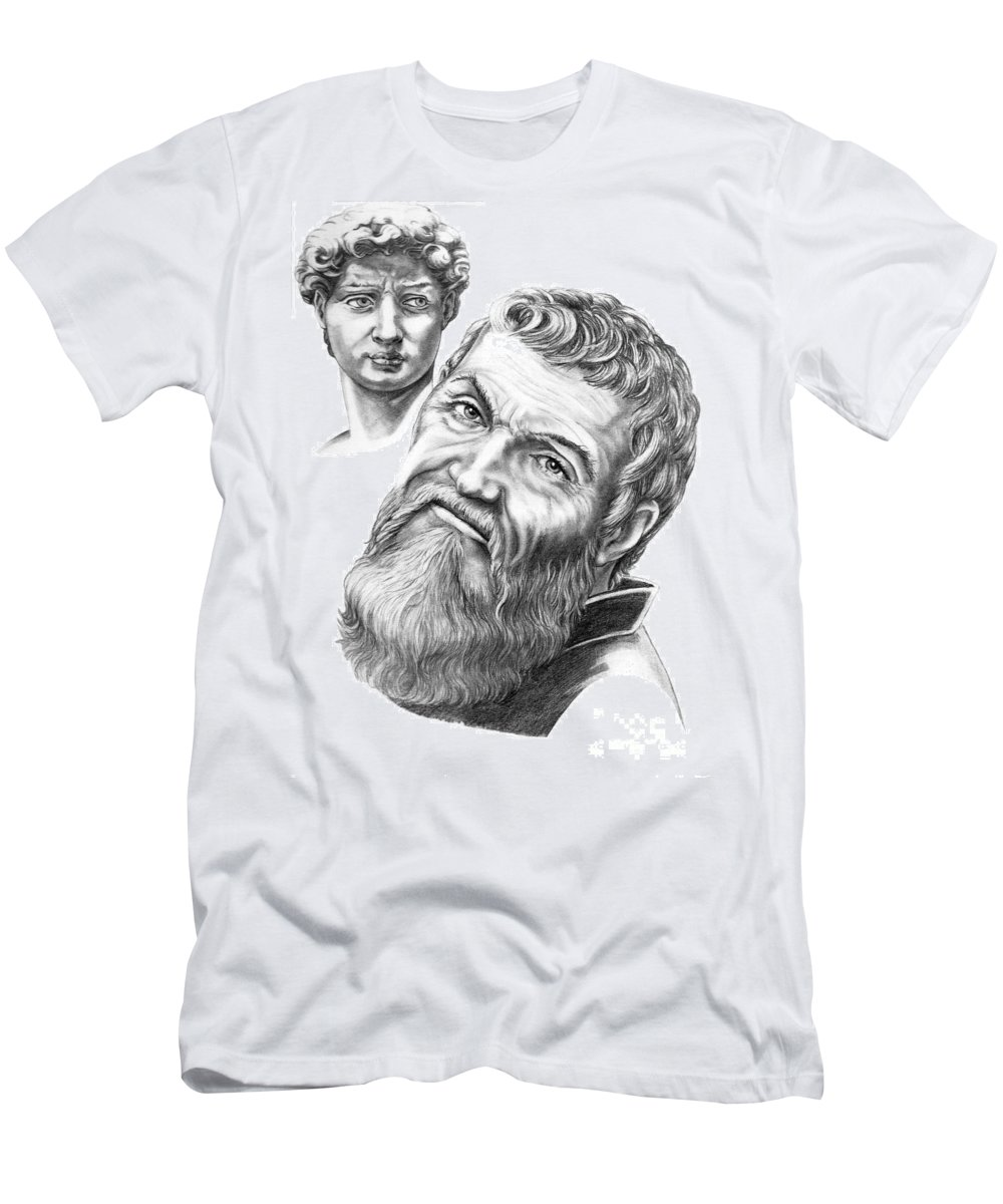 Michelangelo Men's T-Shirt (Athletic Fit) featuring the drawing Michelangelo And David by Murphy Elliott