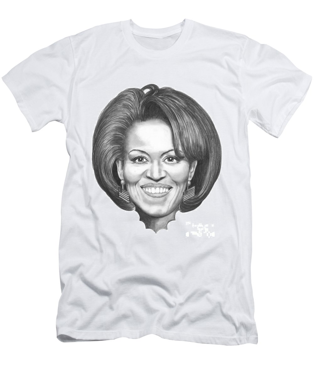 Drawing T-Shirt featuring the drawing Michelle Obama by Murphy Elliott