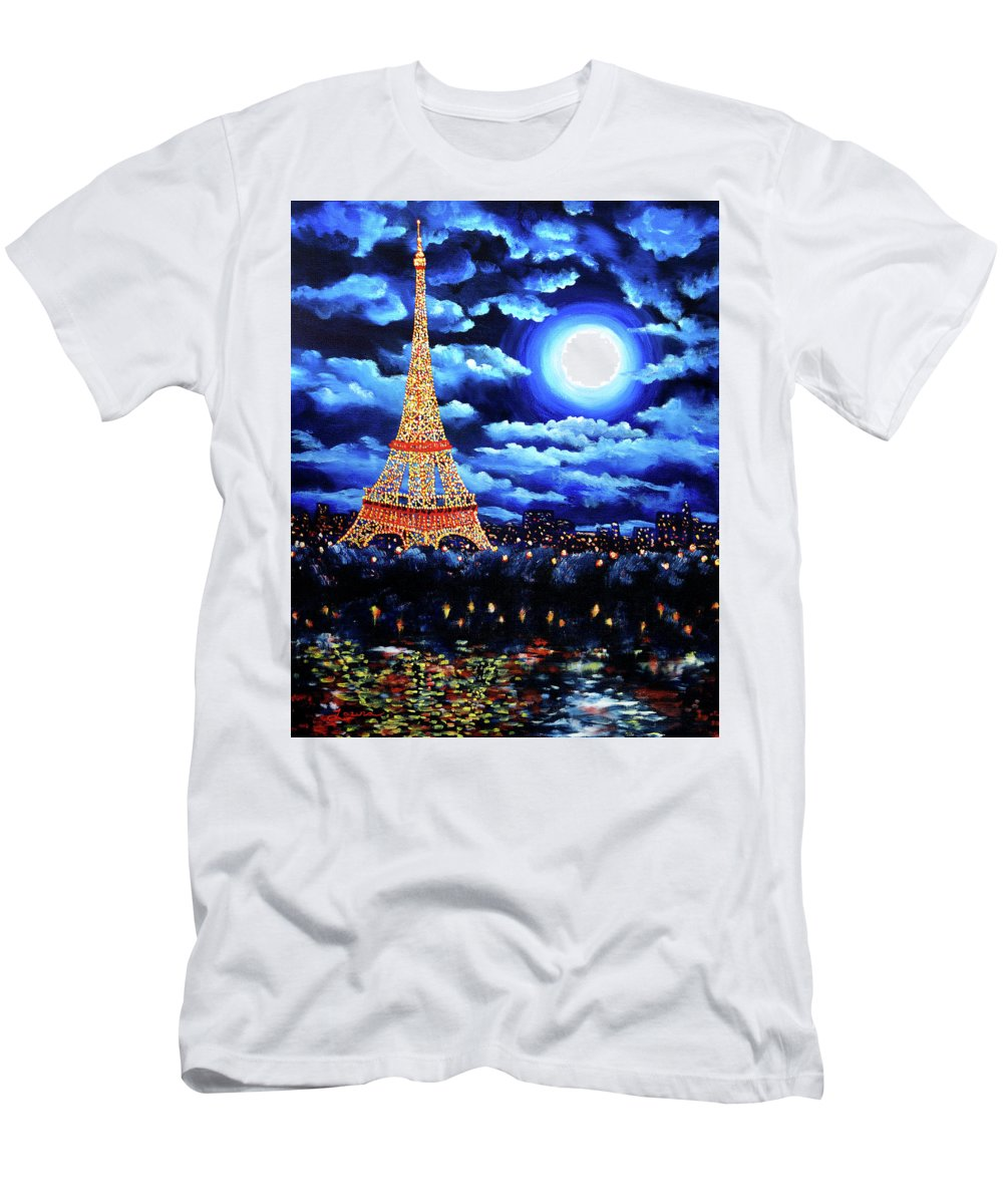 Eiffel Tower Men's T-Shirt (Athletic Fit) featuring the painting Midnight In Paris by Laura Iverson