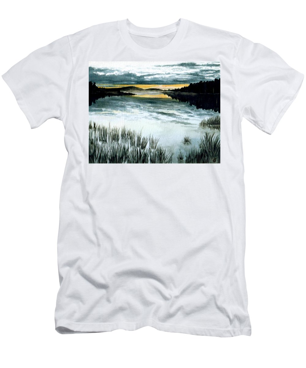 Watercolor Men's T-Shirt (Athletic Fit) featuring the painting Midnight Sun by Brenda Owen