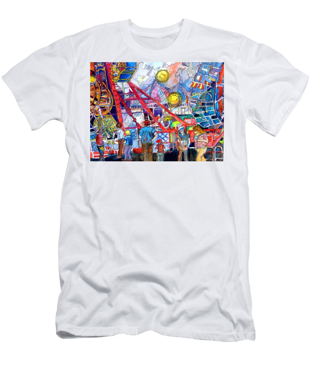 Midway Men's T-Shirt (Athletic Fit) featuring the painting Midway Amusement Rides by Mindy Newman
