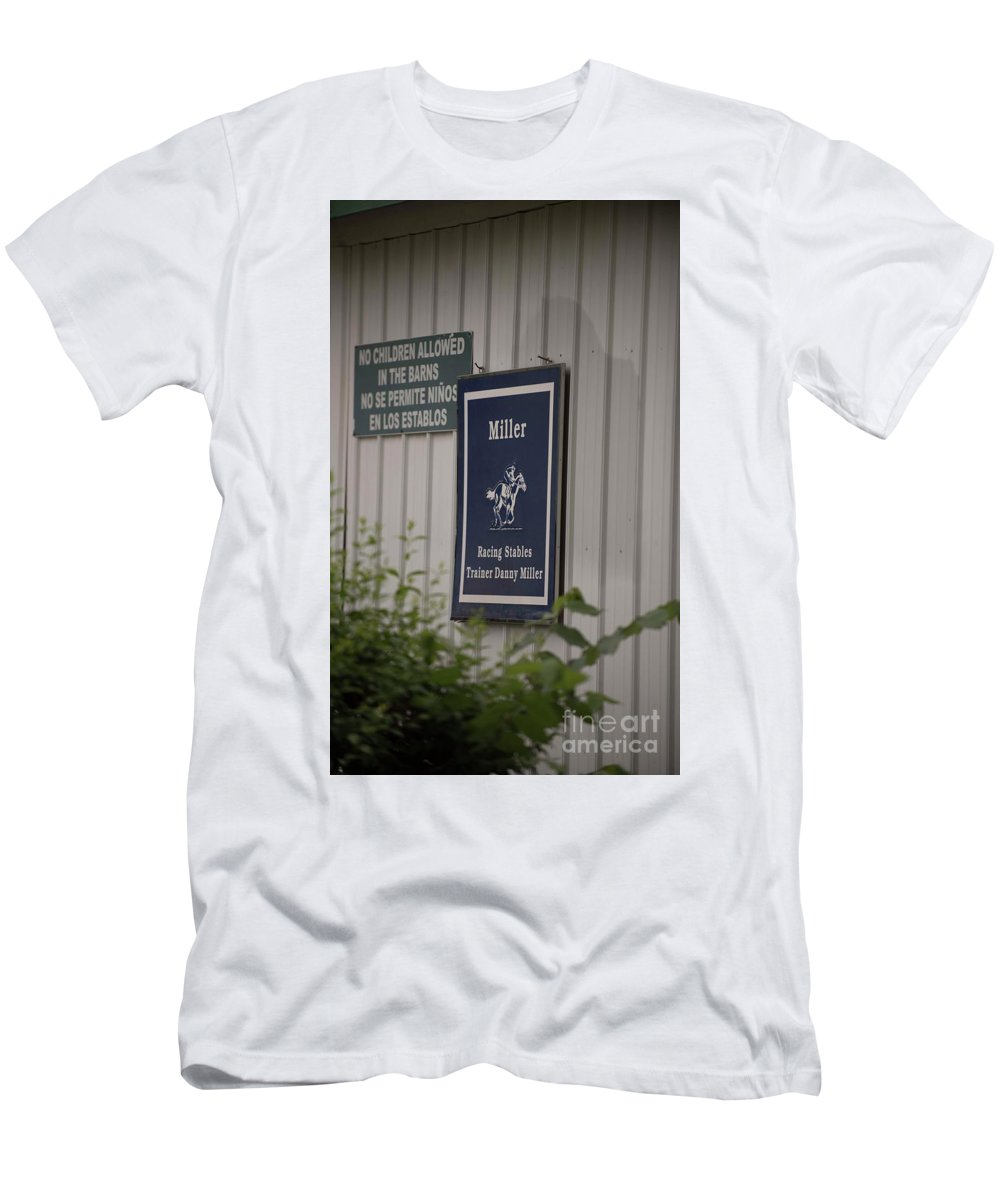 Arlington Park Men's T-Shirt (Athletic Fit) featuring the photograph Miller Stable by David Bearden