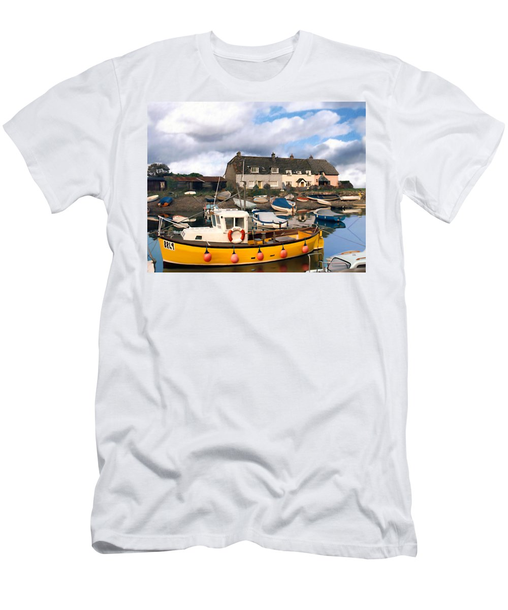 Harbor Men's T-Shirt (Athletic Fit) featuring the photograph Minehead Sommerset by Kurt Van Wagner