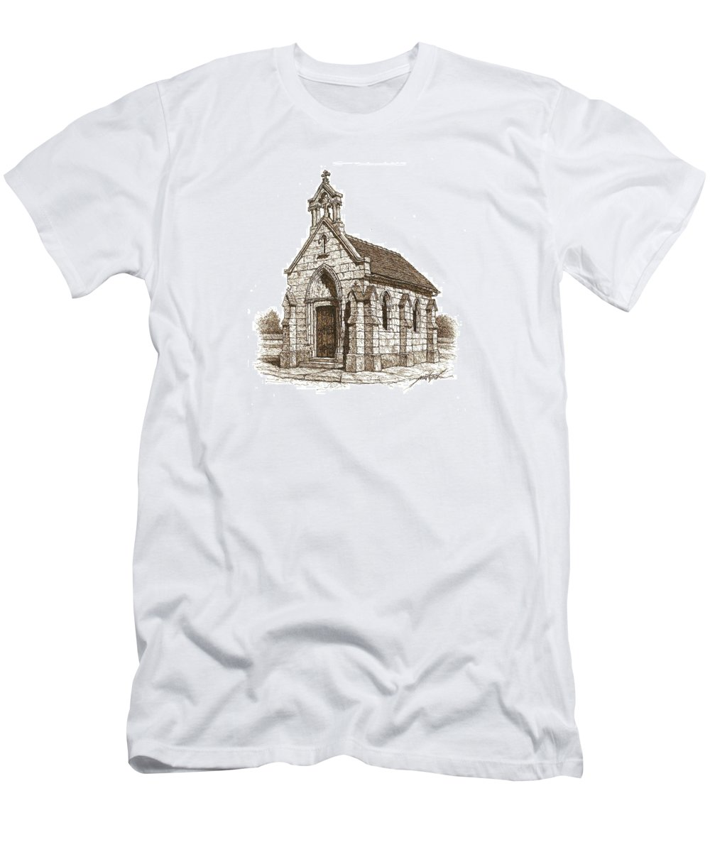 Stone Men's T-Shirt (Athletic Fit) featuring the drawing Miniature Church Of Froberville by Larry Prestwich