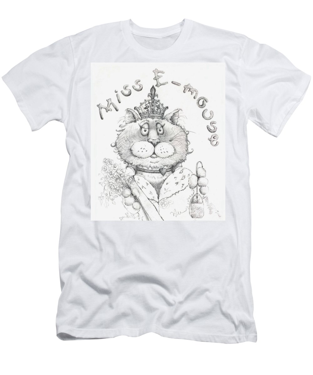 Cat Men's T-Shirt (Athletic Fit) featuring the drawing Miss E-mouse by Mary-Lee Sanders