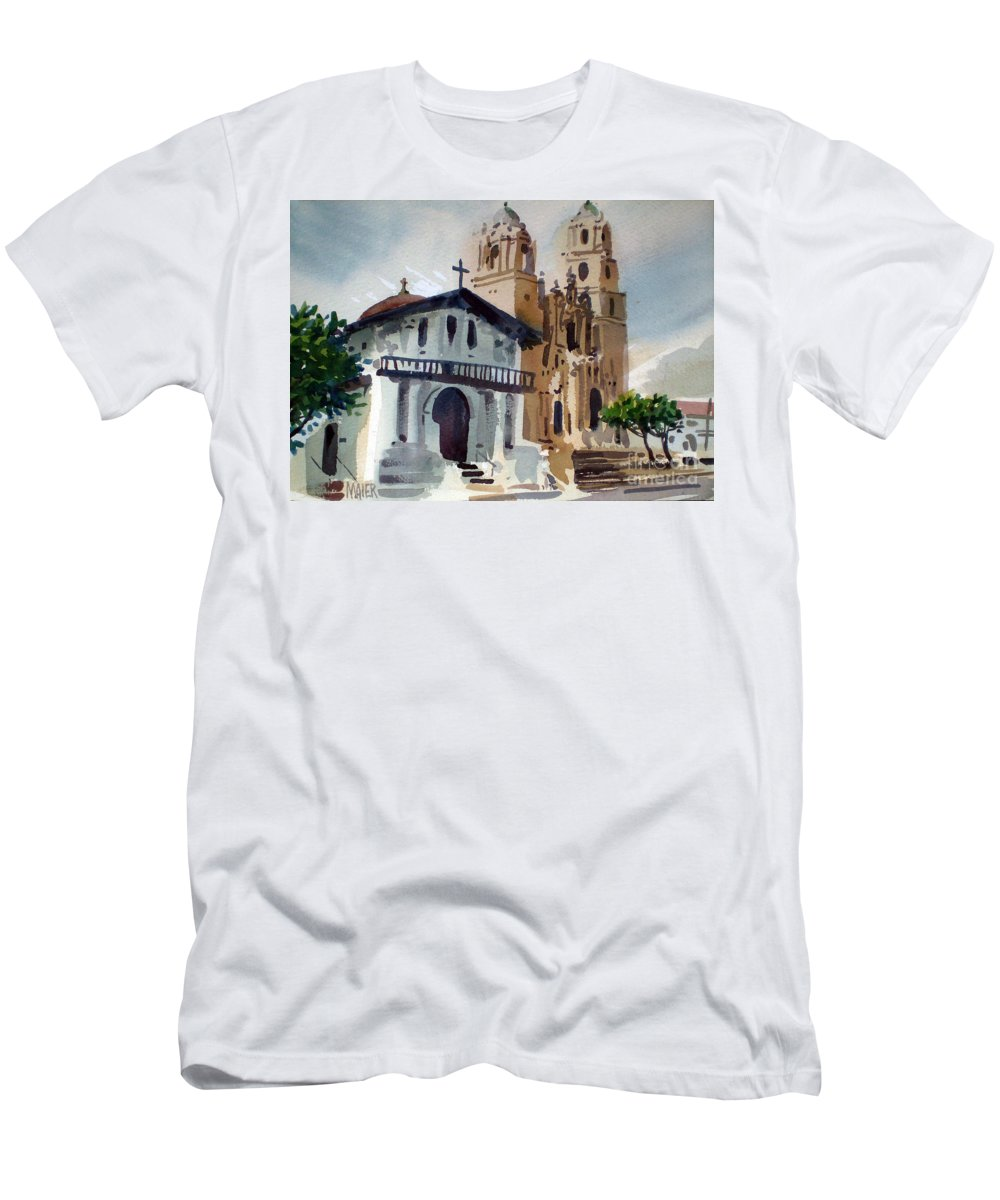 Mission Men's T-Shirt (Athletic Fit) featuring the painting Mission Deloris by Donald Maier
