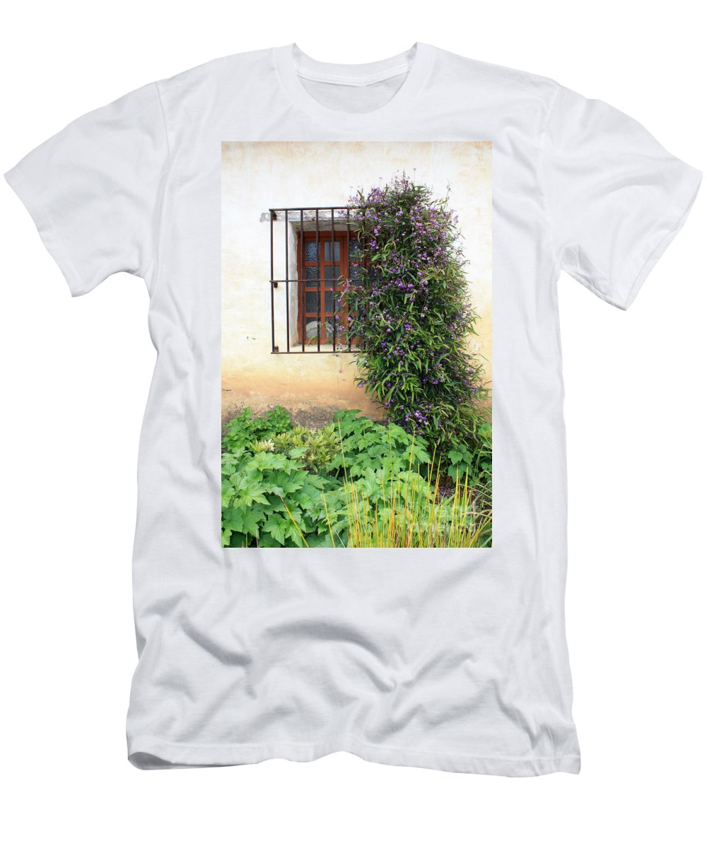 Mission Men's T-Shirt (Athletic Fit) featuring the photograph Mission Window With Purple Flowers Vertical by Carol Groenen