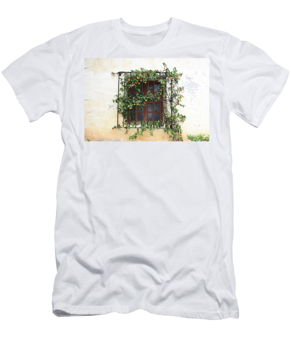 Window Men's T-Shirt (Athletic Fit) featuring the photograph Mission Window With Yellow Flowers by Carol Groenen