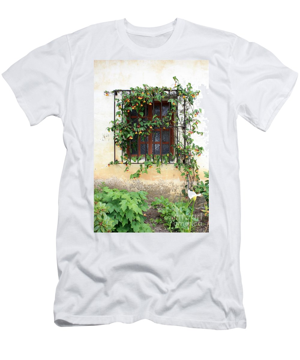 Mission Window Men's T-Shirt (Athletic Fit) featuring the photograph Mission Window With Yellow Flowers Vertical by Carol Groenen