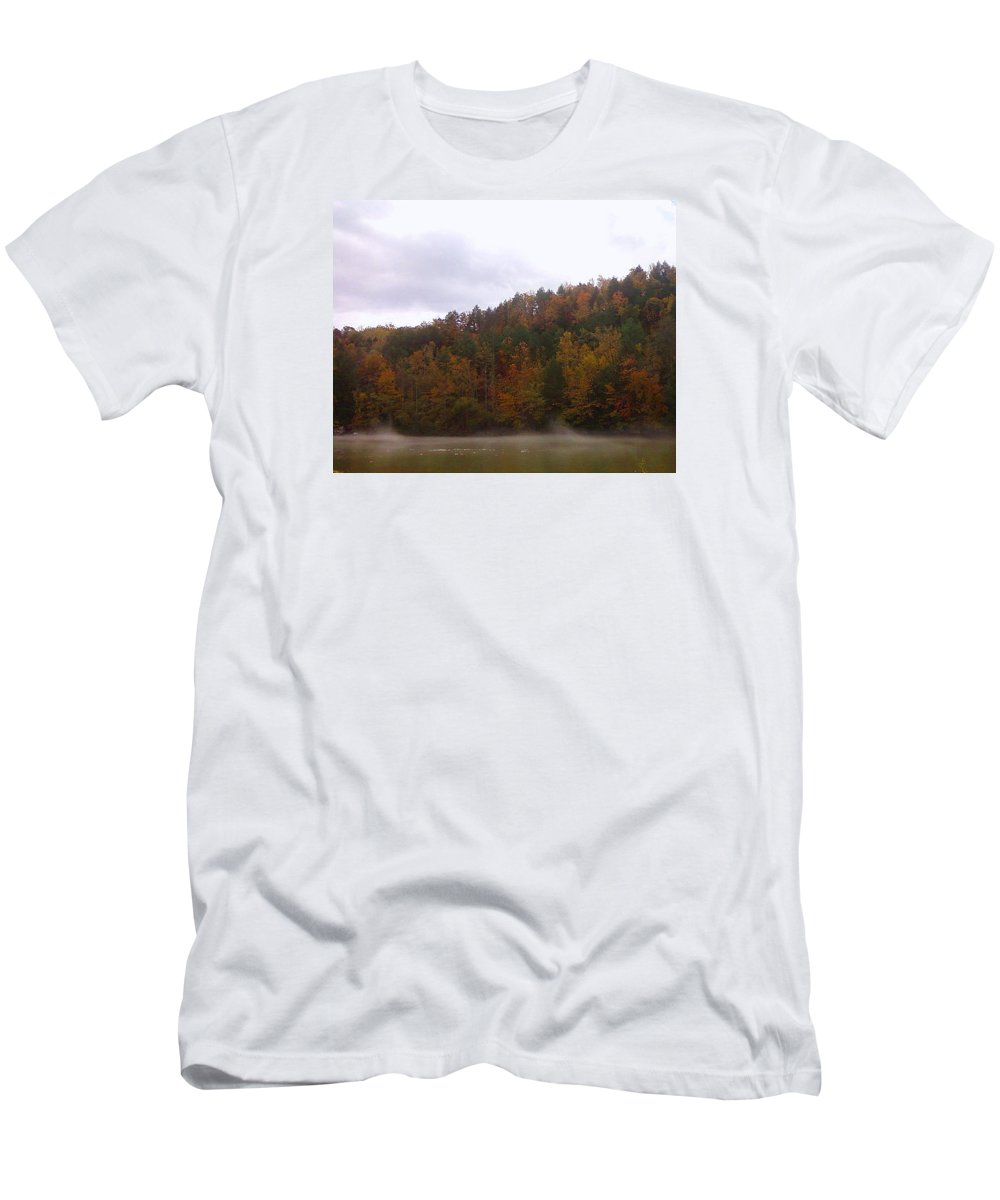 Pat Turner Men's T-Shirt (Athletic Fit) featuring the photograph Misty River by Pat Turner