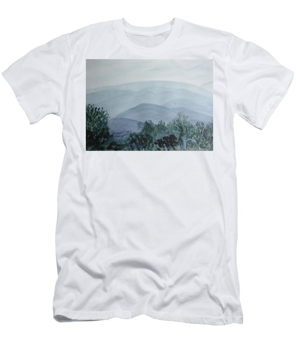 Misty Men's T-Shirt (Athletic Fit) featuring the painting Misty Shenandoah by Donna Walsh