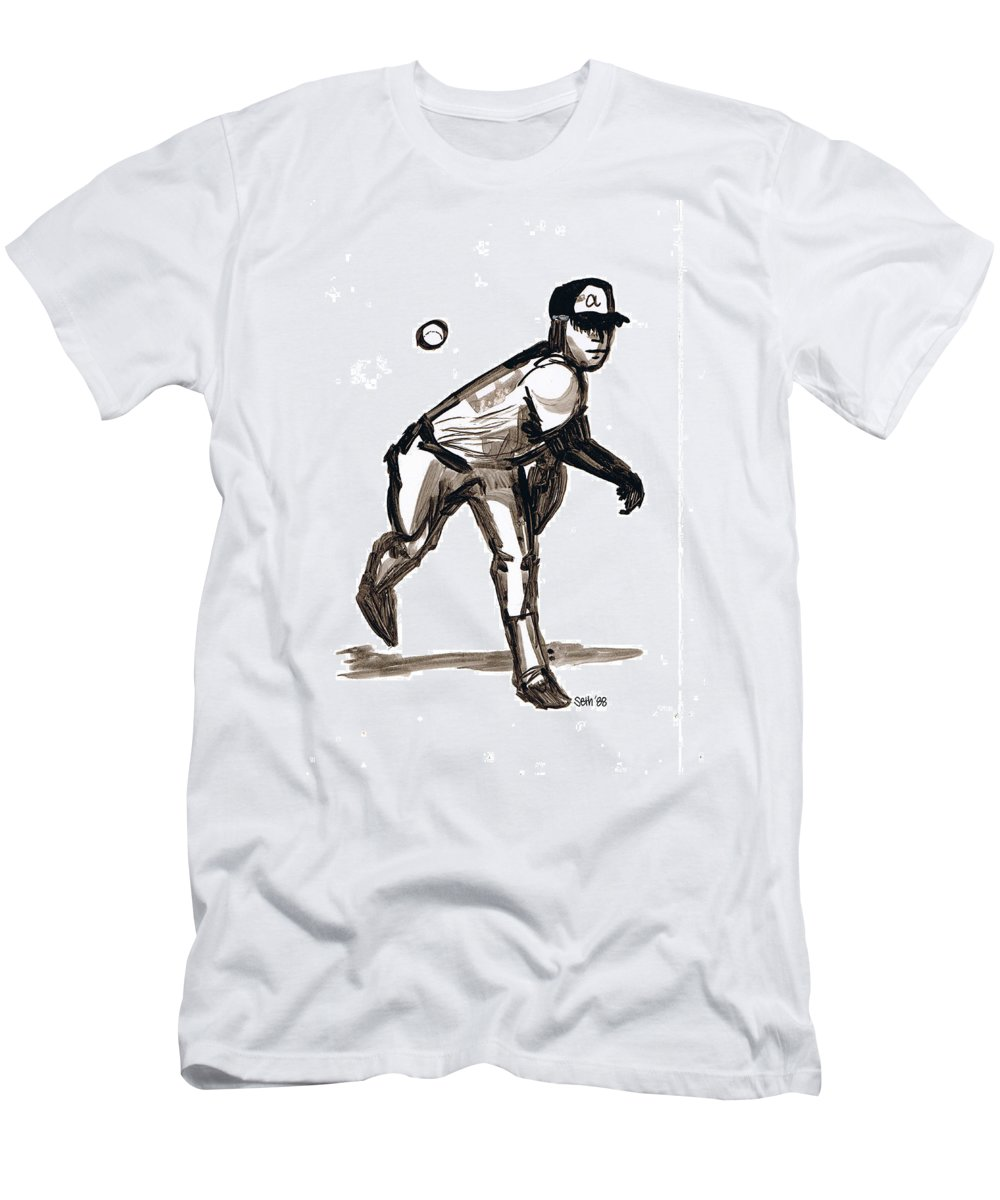 Mlb The Heater Men's T-Shirt (Athletic Fit) featuring the drawing Mlb The Heater by Seth Weaver