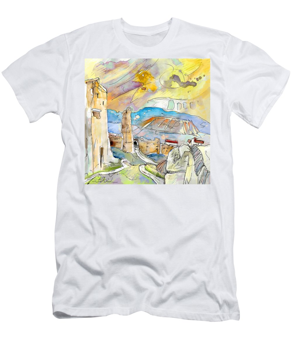 Travel Sketch Men's T-Shirt (Athletic Fit) featuring the painting Molina De Aragon Spain 03 by Miki De Goodaboom