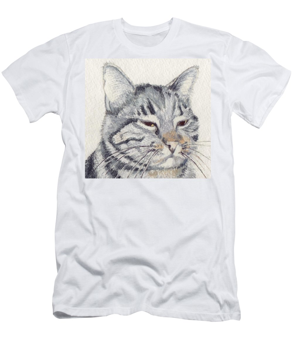 Cat Men's T-Shirt (Athletic Fit) featuring the mixed media Molly Mischief by Mary Rogers