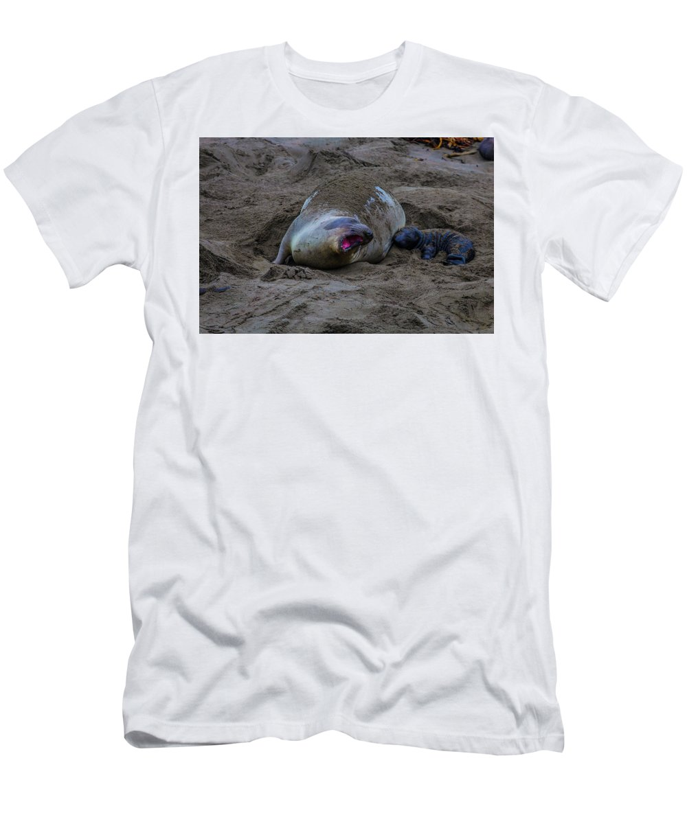 Elephant Men's T-Shirt (Athletic Fit) featuring the photograph Mom And Pup Bonding by Garry Gay