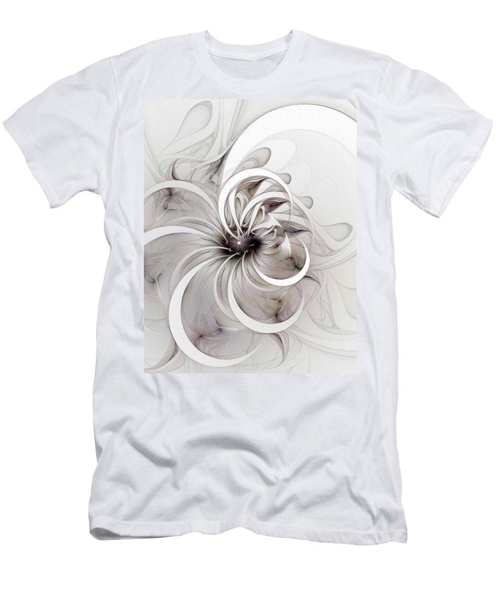 Digital Art T-Shirt featuring the digital art Monochrome flower by Amanda Moore