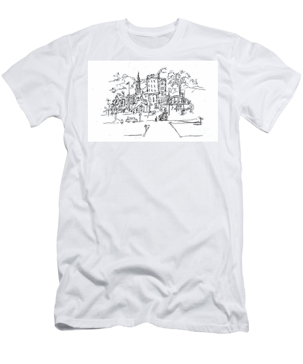 Montmarte Men's T-Shirt (Athletic Fit) featuring the drawing Montmarte by Pamela Canzano