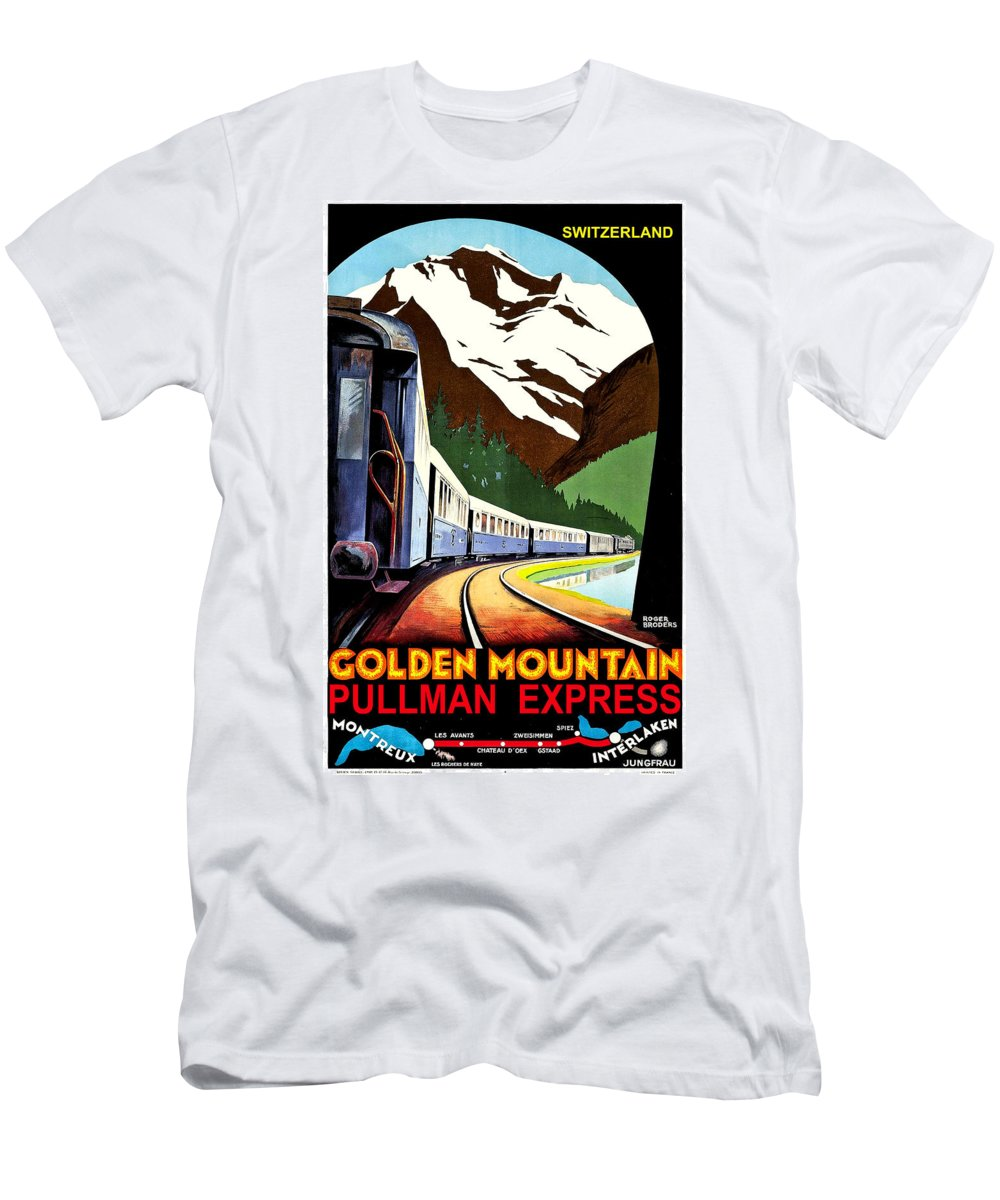 Montreux Men's T-Shirt (Athletic Fit) featuring the painting Montreux, Golden Mountain Railway, Switzerland by Long Shot