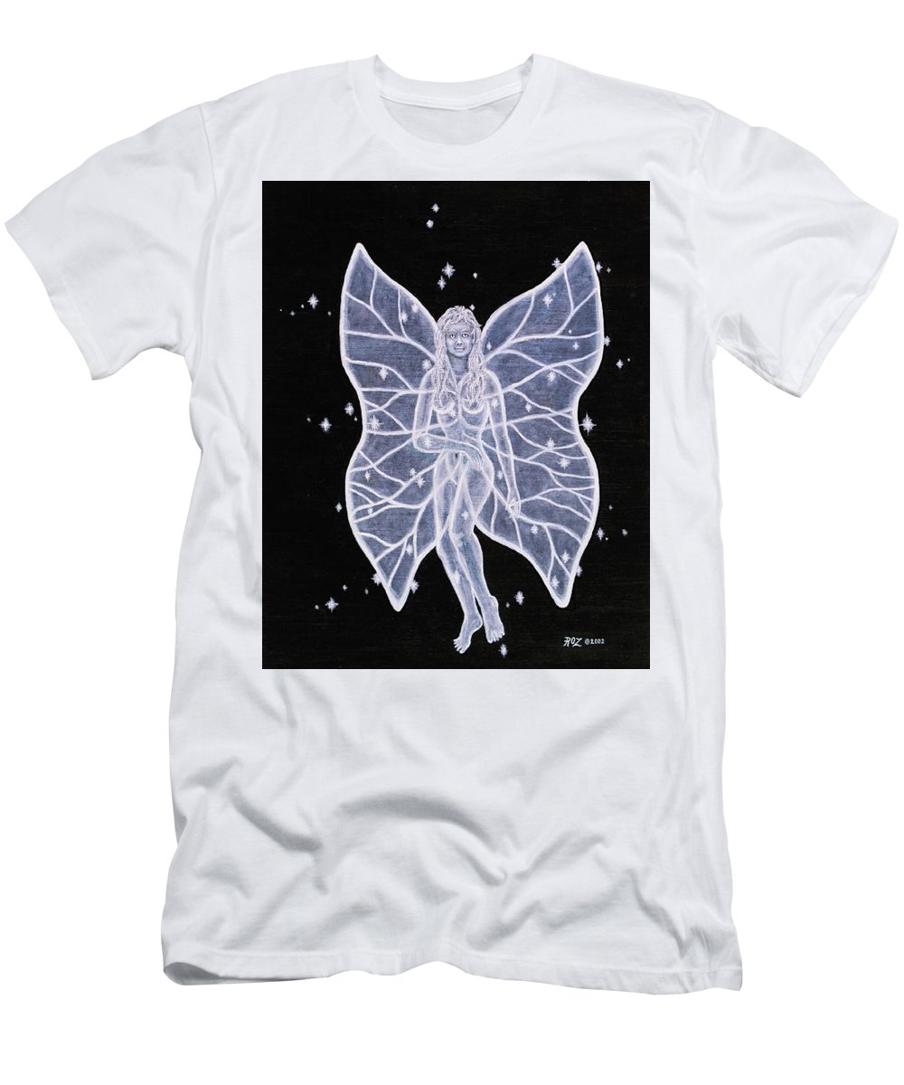 Fairy Men's T-Shirt (Slim Fit) featuring the painting Moon Fairy by Roz Eve
