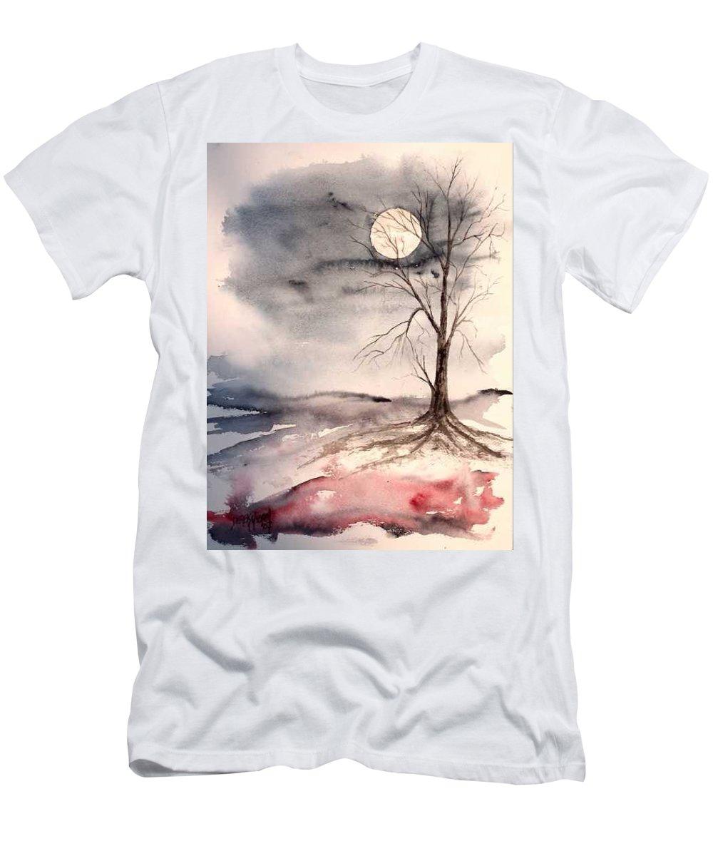 Moon T-Shirt featuring the painting Moon Light by Derek Mccrea