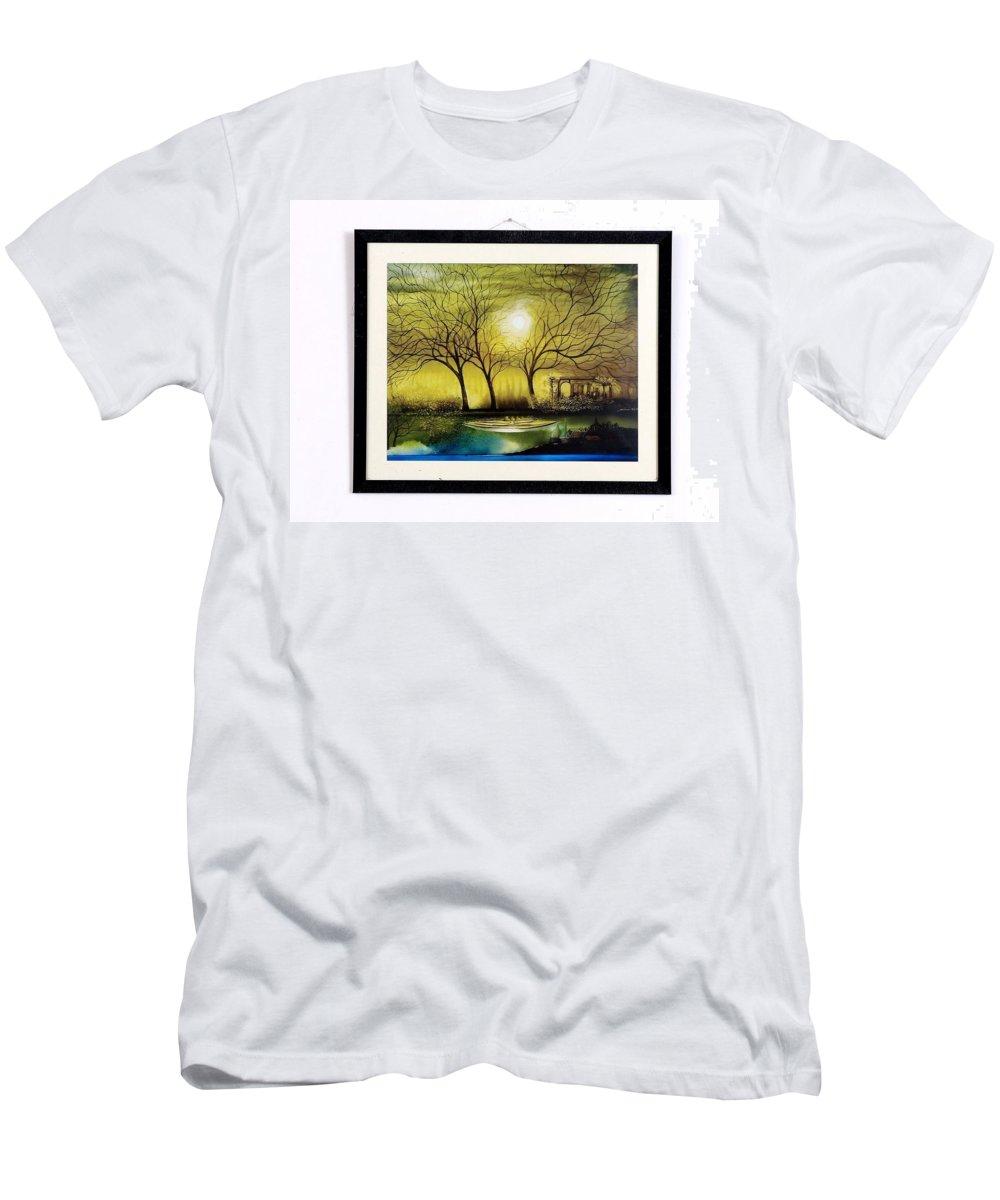Men's T-Shirt (Athletic Fit) featuring the painting Moonlight At Masinagudi by Paris Mohan Kumar