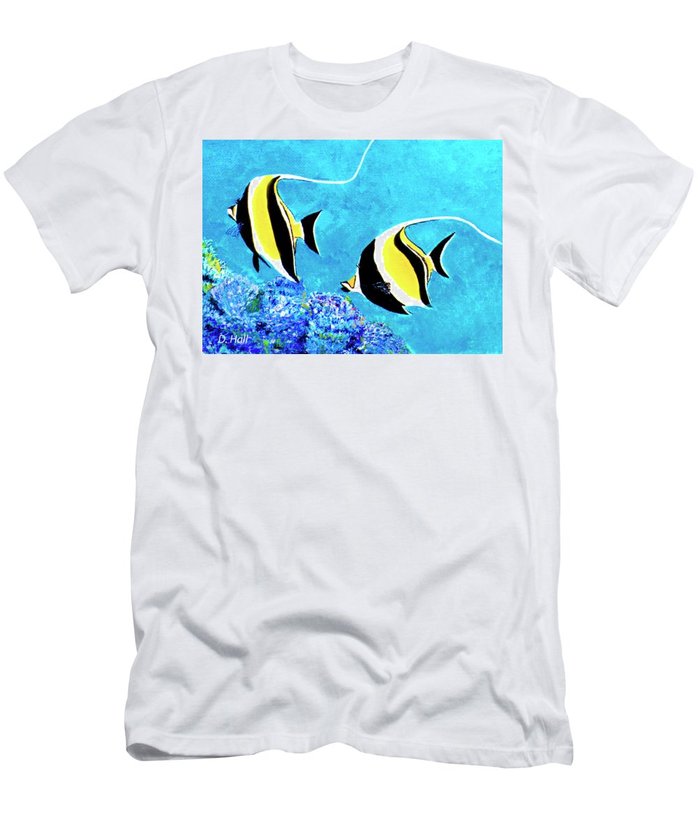 Moorish Idle Men's T-Shirt (Athletic Fit) featuring the painting Moorish Idol Fish #50 by Donald k Hall