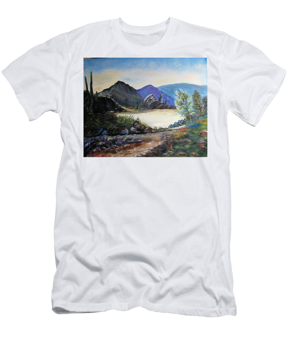 Sunrise T-Shirt featuring the painting Morning Desert Sunrise by Kenneth LePoidevin
