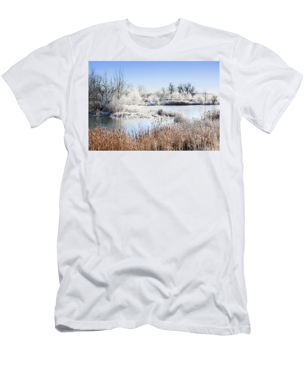 Hoar Frost Men's T-Shirt (Athletic Fit) featuring the photograph Morning Hoar Frost by Marilyn Hunt
