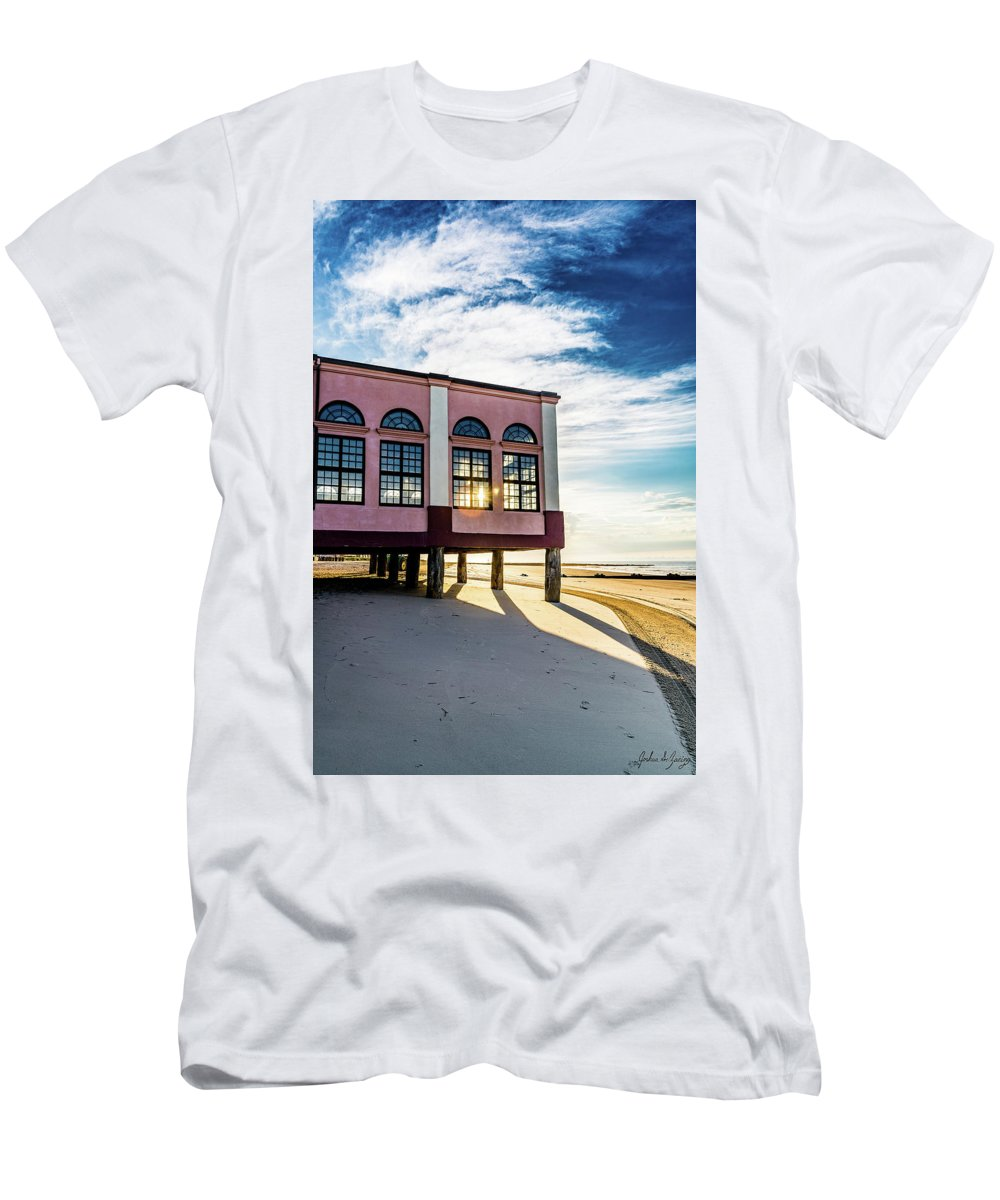J. Zaring Men's T-Shirt (Athletic Fit) featuring the photograph Morning Music Pier by Joshua Zaring